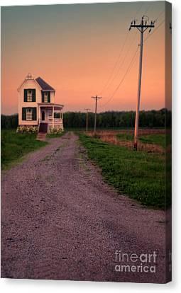 Farmhouse On Gravel Road Canvas Print by Jill Battaglia