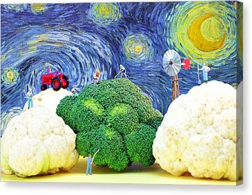 Farming On Broccoli And Cauliflower Under Starry Night Canvas Print by Paul Ge