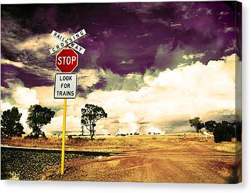 Stop Sign Canvas Print - Farmland Hdr by Phill Petrovic