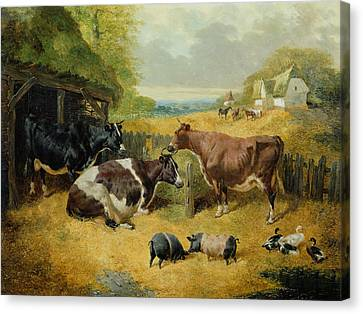 Shed Canvas Print - Farmyard Scene by John Frederick Herring Snr