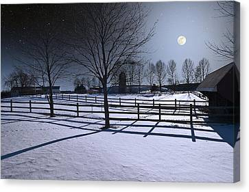 Canvas Print featuring the photograph Farmyard Winter Moonrise by Larry Landolfi