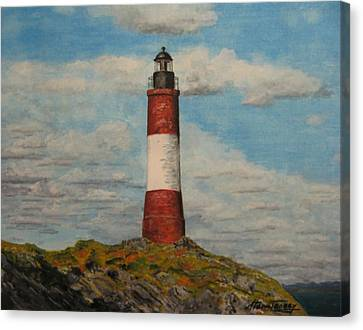 Canvas Print featuring the painting Faro Del Fin Del Mundo by Stan Tenney