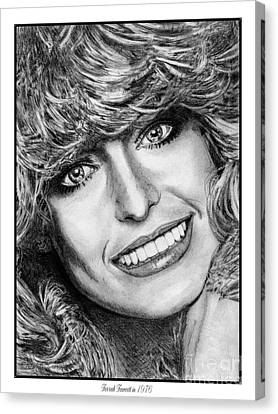 Canvas Print featuring the drawing Farrah Fawcett In 1976 by J McCombie