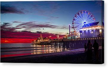 Ferris Wheel On The Santa Monica California Pier At Sunset Fine Art Photography Print Canvas Print by Jerry Cowart