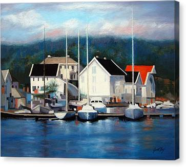 Farsund Dock Scene Painting Canvas Print by Janet King