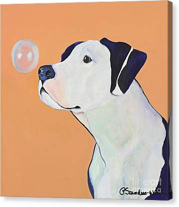 Dog At Play Canvas Print - Fascination by Pat Saunders-White