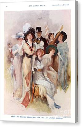 Fashion At Ascot Races 1911 1910s Uk Cc Canvas Print by The Advertising Archives