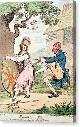 Caricature Canvas Print - Fashion Before Ease, Or A Good Constitution Sacrificed For A Fantastic Form, Pub. By Hannah by George Moutard Woodward