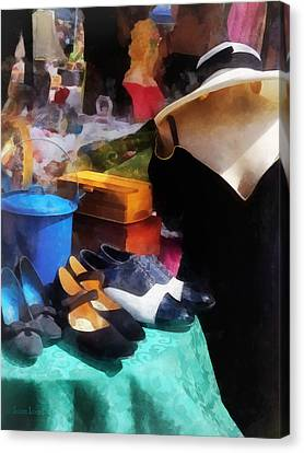 Fashion - Clothing For Sale At Flea Market Canvas Print by Susan Savad