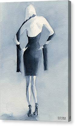 Fashion Illustration Art Print Woman In Blue Dress Back Canvas Print by Beverly Brown