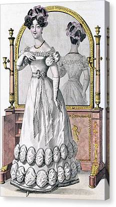 Hairstyle Canvas Print - Fashion Plate Of A Lady In Evening by English School