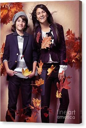 Maple Season Canvas Print - Fashionably Dressed Boy And Teenage Girl Fall Fashion by Oleksiy Maksymenko