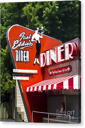 Fast Eddies Diner Art Deco Fifties Canvas Print by Edward Fielding