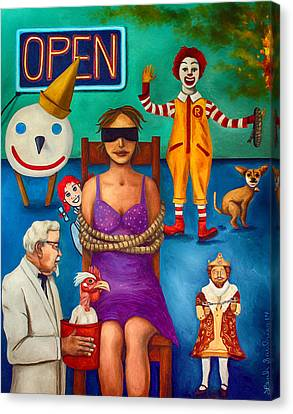 Fast Food Nightmare 3 Edit 2 Canvas Print by Leah Saulnier The Painting Maniac