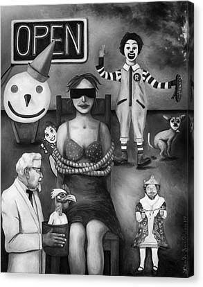 Fast Food Nightmare 3 Edit 4 Canvas Print by Leah Saulnier The Painting Maniac