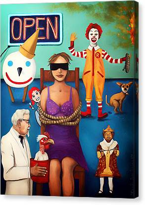 Fast Food Nightmare 3 Edit 5 Canvas Print by Leah Saulnier The Painting Maniac