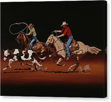 Heeler Canvas Print - Fast Horses And Sure Ropes by Hugh Blanding