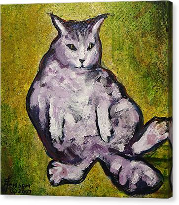 Canvas Print featuring the mixed media Fat Cat by Kenny Henson