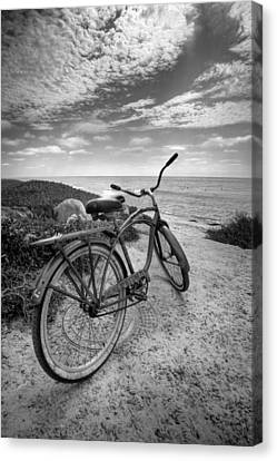 Beach Cruiser Canvas Print - Fat Tire Black And White by Peter Tellone
