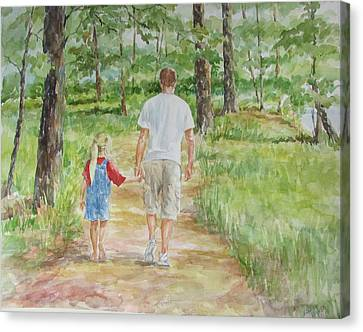 Father And Daughter Walk Canvas Print