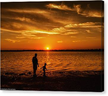 Canvas Print featuring the photograph Father And Son by Linda Karlin