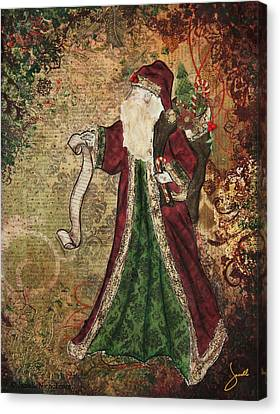 Father Christmas A Christmas Mixed Media Artwork Canvas Print by Janelle Nichol