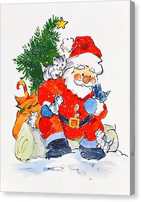Father Christmas And Kittens, 1996  Canvas Print by Diane Matthes