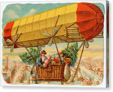 Father Christmas In Airship Canvas Print by Mary Evans
