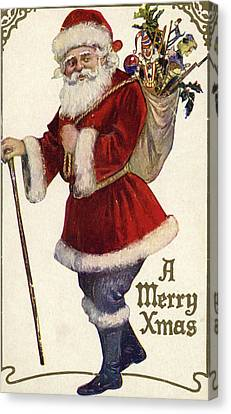Father Christmas With A Bag Of Toys Canvas Print by English School