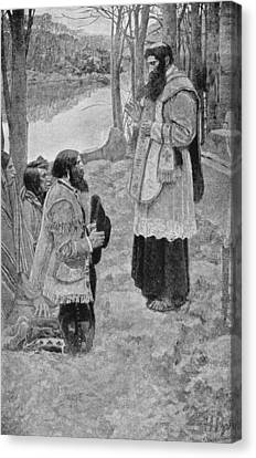 Father Hennepin Celebrating Mass, Illustration From La Salle And The Discovery Of The Great West Canvas Print by Howard Pyle