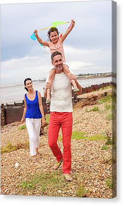 Bonding Canvas Print - Father On Beach With Daughter by Ian Hooton