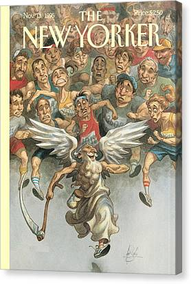 Father Time Canvas Print - Father Time Running A Marathon by Peter de Seve