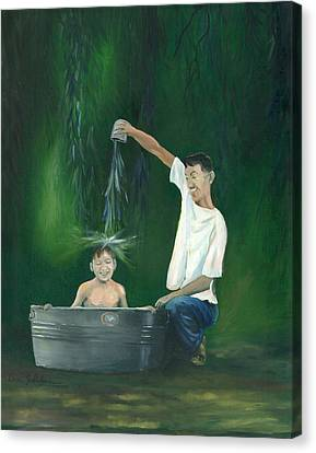 Canvas Print featuring the painting Fatherly Fun by Dan Redmon