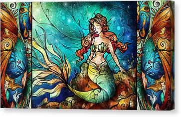 Siren Canvas Print - Fathoms Below Triptych by Mandie Manzano