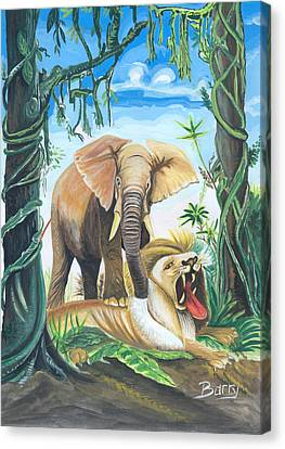 Canvas Print featuring the painting Faune D'afrique Centrale 01 by Emmanuel Baliyanga
