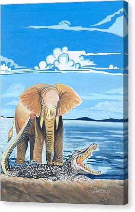 Canvas Print featuring the painting Faune D'afrique Centrale 02 by Emmanuel Baliyanga