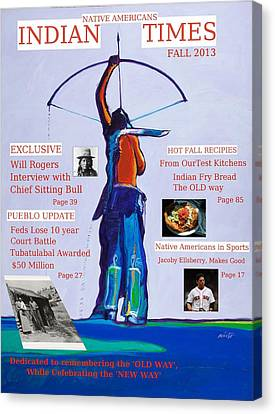 Faux Magazine Cover Native American Indian Times Canvas Print by Robert Rhoads