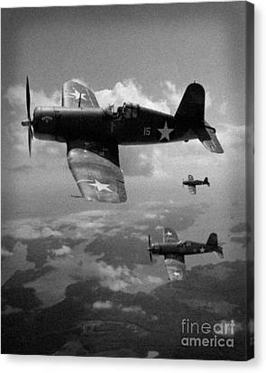 Canvas Print featuring the photograph Faux Wwii Corsair Photo by Stephen Roberson