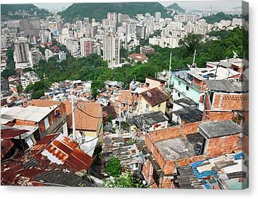 Favela In Rio De Janeiro Canvas Print by Jeremy Walker