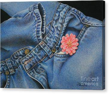 Canvas Print featuring the painting Favorite Jeans by Pamela Clements