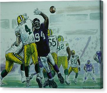 Canvas Print featuring the painting Favre Vs The Vikes by Dan Wagner