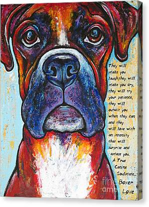 Boxer Dog Canvas Print - Fawn Boxer Love by Stephanie Gerace