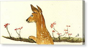 Fawn Canvas Print by Juan  Bosco