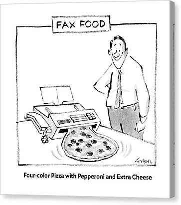 Fax Food 'four-color Pizza With Pepperoni Canvas Print by Lee Lorenz