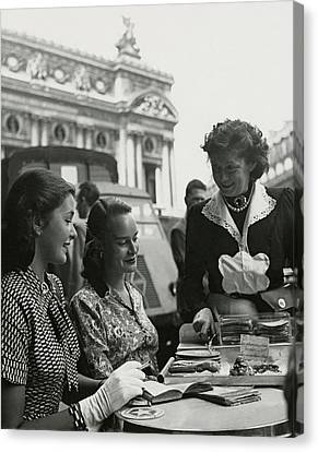 Fay Caulkins And Payne Payson Sitting At Cafe Canvas Print