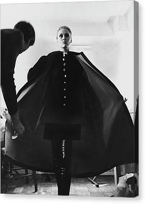 1960s Fashion Canvas Print - Faye Dunaway Wearing A Melton Coat by Jack Robinson