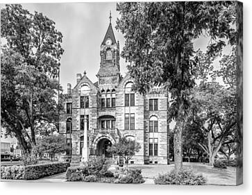 Fayette County Courthouse In Bw Monochrome - La Grange Texas Canvas Print by Silvio Ligutti