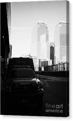 Terrorist Canvas Print - Fdny Fire Tender Parked Outside Liberty Street Ground Zero New York City by Joe Fox