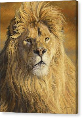 Lion Canvas Print - Fearless - Detail by Lucie Bilodeau