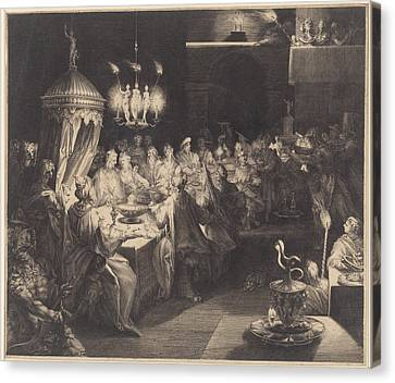 Feast Of Belshazzar Canvas Print by Jan Harmensz. Muller